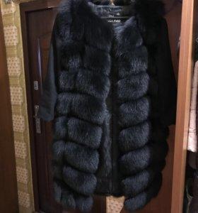 Шуба из песца. Меховое пальто. Жилет. 90 см.