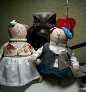 Коты веслоухие сшиты в стиле тильда