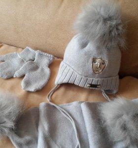 зимний комплект: шарф, варежки, шапка 80 % шерсть