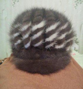 Шапка зимняя из вязаной норки