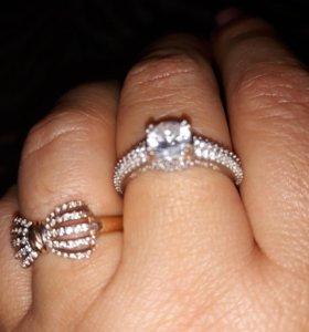 серебрянное кольцо с циркониями 925 пробы 18 р