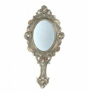 Зеркало серебрянное, с ручкой и резным узором