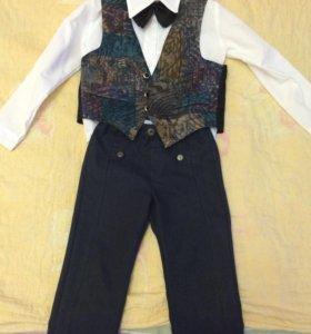Тройка(рубашка+бабочка,жилетка,брюки)