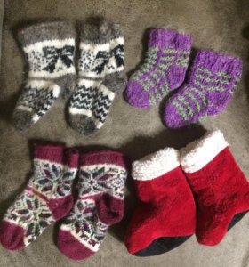 Тёплые шерстяные носки сапожки