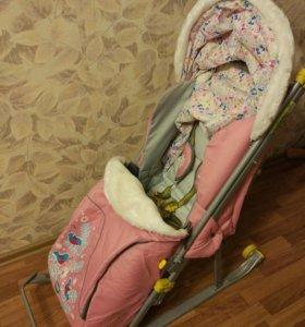 Санки-коляска для девочки
