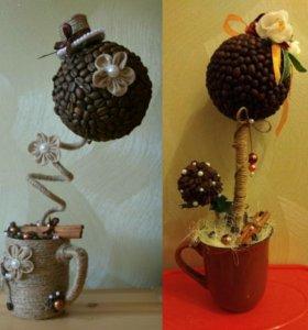 Кофейные топиарии (дерево счастья) подарок