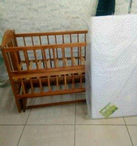 Кроватки качалки Б/У+новые матрасы