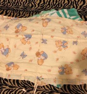 Бортики в кроватку и одеяло 3 шт.