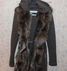 Кардиган-пальто с натуральный мехом