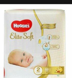 Памперсы huggies elite soft 2 3-6 кг 88 шт