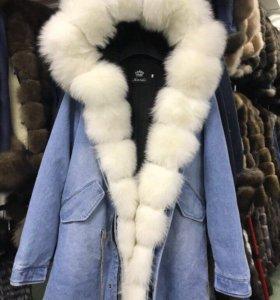 Куртка с мехом джинсовка