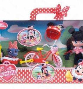 Новая кукла минни в наборе С велосипедом famosa