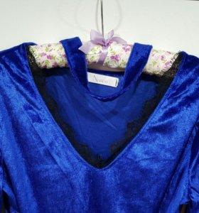 Платье велюр-кружево ,чокер.46 размер!