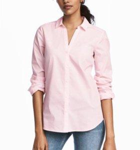 Рубашка в бело-розовую полоску