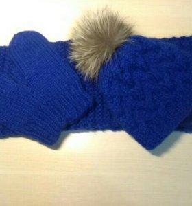 Комплект шапка,шарф, варежки.