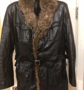 Куртка кожаная Jorg Weber с подкладом из кролика