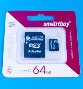 Карта microSD XC 64 ГБ SmartBuy class 10 +SD новая