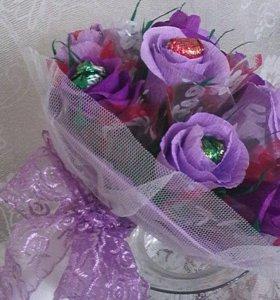Букеты из игрушек, свадебные, из конфет