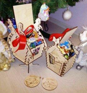 Деревянные домики под подарки!