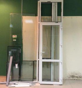 Стеклопакет с дверью, закаленные стекла 4 шт.