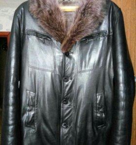 Куртка Дублёнка кожаная мужская зимняя 50-52