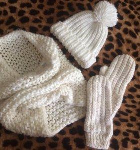 Шапка, шарф и варежки h&m