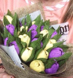 Букет цветов с конфетками 💐