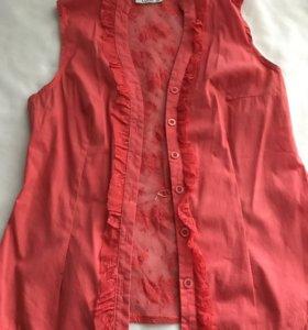 Рубашка с сеточкой на спине , р.44