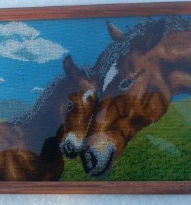 """Вышивка бисером """"Лошади на лугу"""""""
