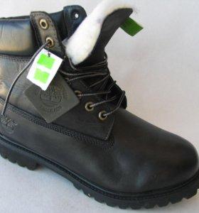 Ботинки Зимние Timberland Мех Кожа Чер.40