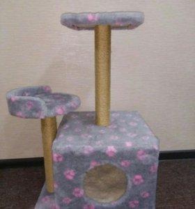 Игровой комплекс для кошек с домиком и когтеточко