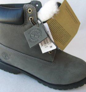 Ботинки Зимние Timberland Мех Нубук Серые 46