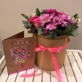 Шляпная коробка, композиция, цветы