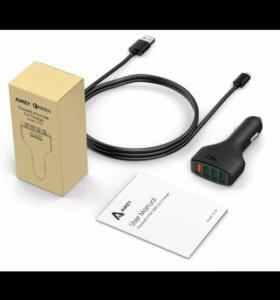 Авто з/у Quick Charge 3.0 Aukey CC-T9 4 порта