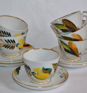 Чайные пары 'Тюльпаны'. 6 шт. лфз 70-е