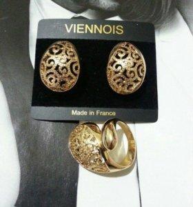 Комплект серьги кольцо под золото
