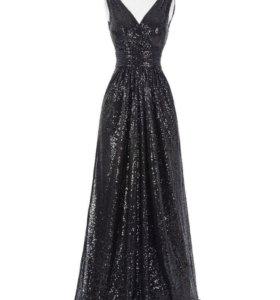 Новое вечернее платье чёрные пайетки