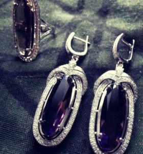 Комплект украшений (серьги и кольцо)