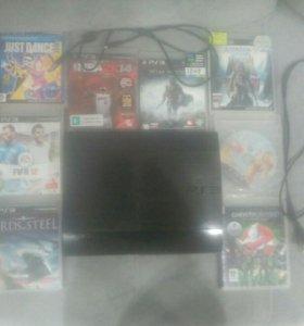 Игровая консоль  playstation3 slim 500GB  + 8 игр