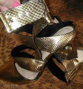 Золотые туфли ZARA, 41 размер