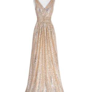 Вечернее платье золотые пайетки