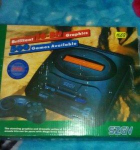 Sega mega drive2 + картриджи 10 штук.