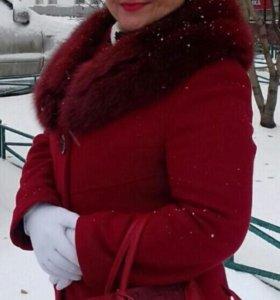 Пальто кашемир с мехом песца зимнее