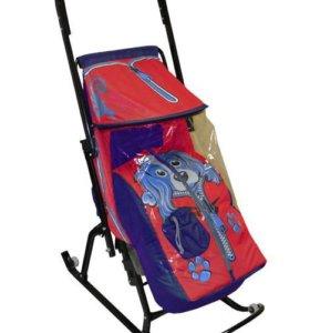 Санки-коляска скользяшки снегурочка 2-Р собачка