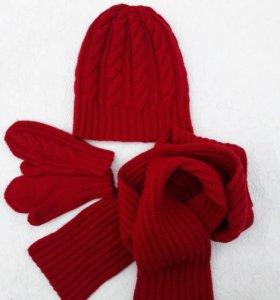 Ручная работа: шапка, варежки и шарф, 100% мерино
