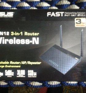 Wi -Fi Маршрутиризатор  Роутер ASUS RT N 12  3in1