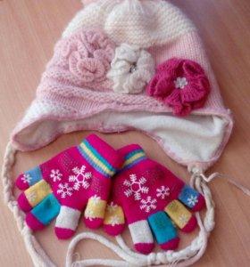 Шапка зимняя до 7 лет + перчатки