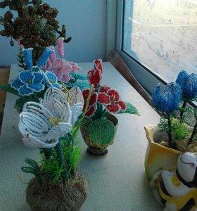 цветы и бансай из бисера