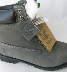Ботинки Зимние Timberland Мех Нубук Серые 40
