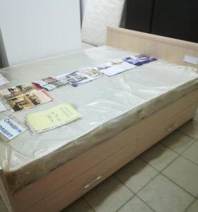Кровать 140 ящиками матрасом